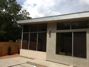 screen enclosure with solar screens modern home Austin Tx