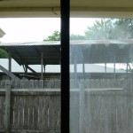 Sliding glass door before and after insulated glass new install vs old fogged insulated glass before repair.